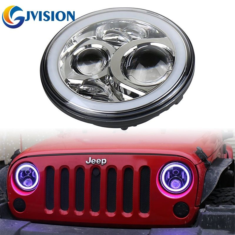2PCS Chrome 7inch Jeeps RGB Halo LED Headlights Kit 60W With Bluetooth Remote Angel eyes for Jeep Wrangler JK LJ Unlimited