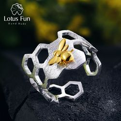 Lotus Fun Real 925 Sterling Silver 18K Gold Bee Rings Natural Designer Fine Jewelry Home Guard Honeycomb Open Ring for Women