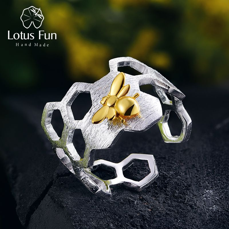 Lotus Fun réel 925 en argent Sterling 18K or abeille anneaux concepteur naturel bijoux fins maison garde nid d'abeille anneau ouvert pour les femmes