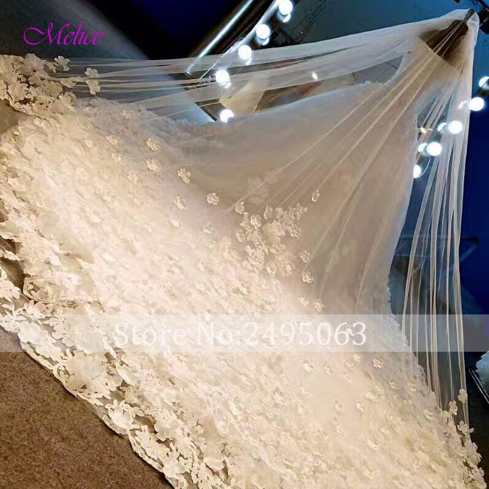 Melice Boat Neck Lace Beaded Flowers A-Line Wedding Dresses 2018 Gorgeous Appliques Chapel Train Wedding Gown Vestido de Noiva
