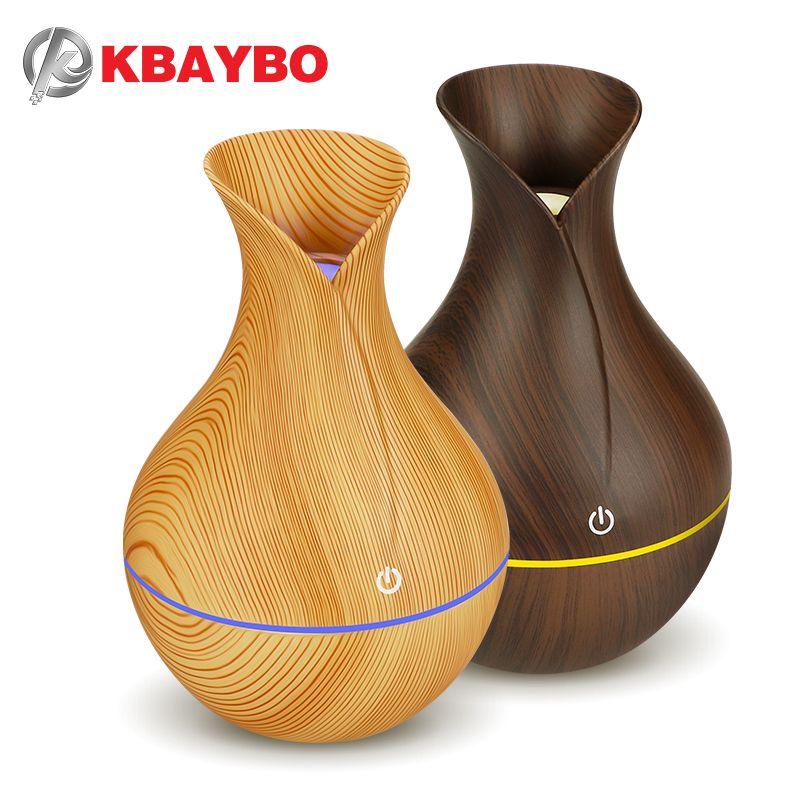 KBAYBO électrique humidificateur diffuseur d'huile arôme ultrasons bois grain air humidificateur USB mini mist maker LED lumière pour la maison bureau