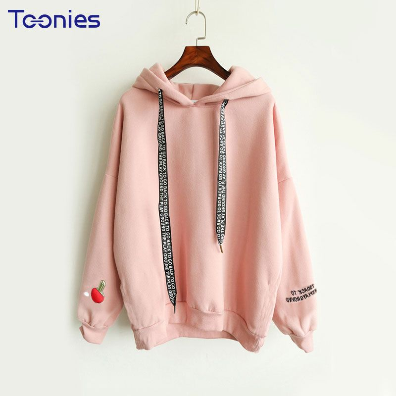 Hoodie with Hood Kawaii <font><b>Cashmere</b></font> Women Hoodies Cute Pattern Embroidered Letter Drawstring Harajuku Street Thick Sweet Pullovers