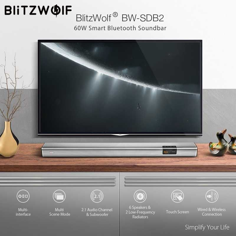 In Stock BlitzWolf 60W Smart Soundbar 2.1 Audio Channel & Subwoofer, 6 Speakers & 2 Low-Frequency Radiators for TV PC with Coaxi