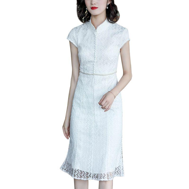 Robe femme été 2019 nouveau tempérament dame manches courtes col mandarin robes à la main perle brodée gaine robe