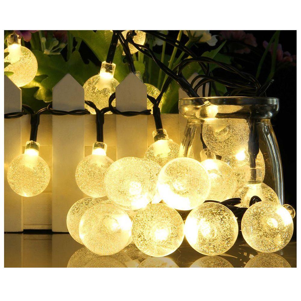 Neue 30 LEDS 20ft Kristall ball Solar Lampe Power LED String Fairy Lichter Solar Girlanden Garten Weihnachten Decor Für Outdoor