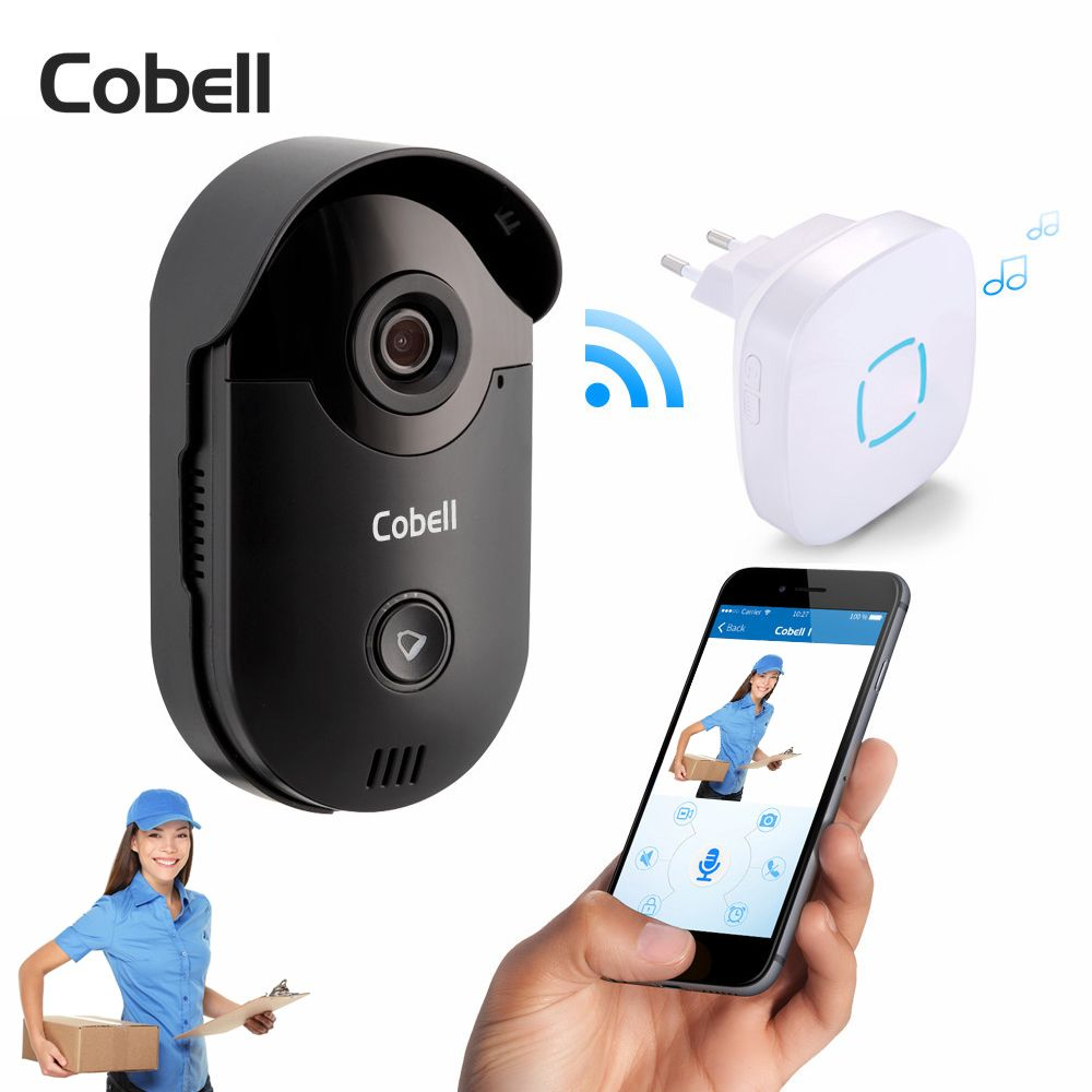 Cobell 720P HD Wireless Wifi Video Doorbell Camera Motion Detection Alarm Built-in TF Card Door Phone Intercom Home Security