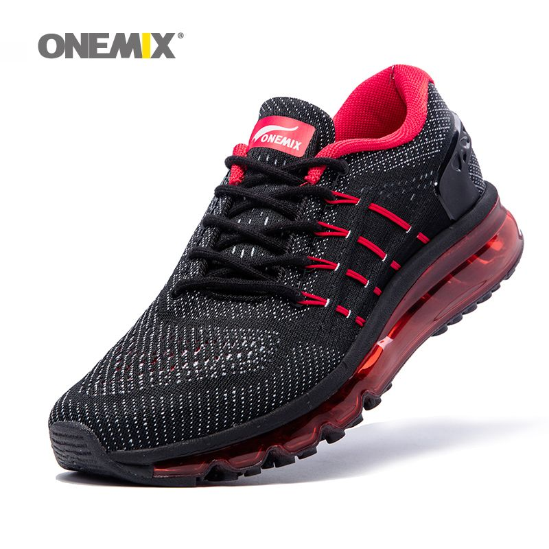 Max Man Running Shoes for Men 2018 Unique Shoe Tongue Athletic Trainers Black Red Mens Breathable Sports Shoe Cushion Sneakers
