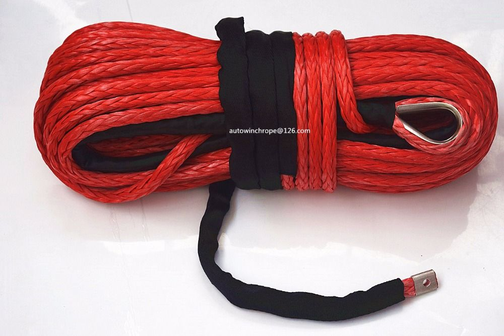 Red 14mm*30m Synthetic Winch Rope,ATV Winch Cable,Towing Ropes for Auto Accessaries,4x4 Off-road Tow Cable