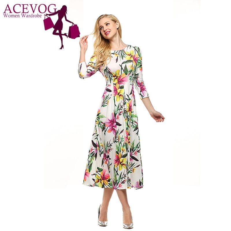 ACEVOG marque robe d'été femmes rétro Vintage Rockabilly Floral imprimé robes Swing tunique élégante Feminin Vestidos s-xxl