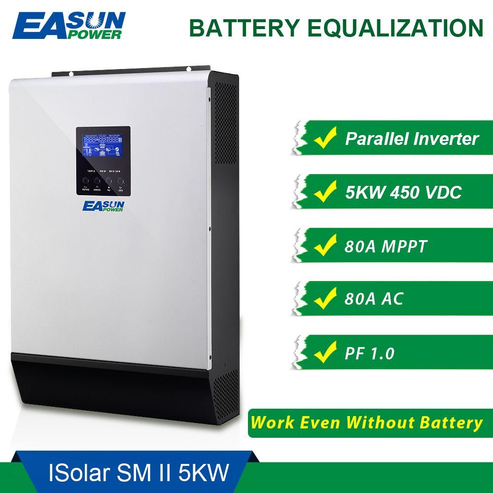 EASUN POWER 450Vdc 5000W Solar Inverter 80A MPPT Parallel Inverter 48V 230V Pure Sine Wave Hybrid Inverter 80A Battery Charger