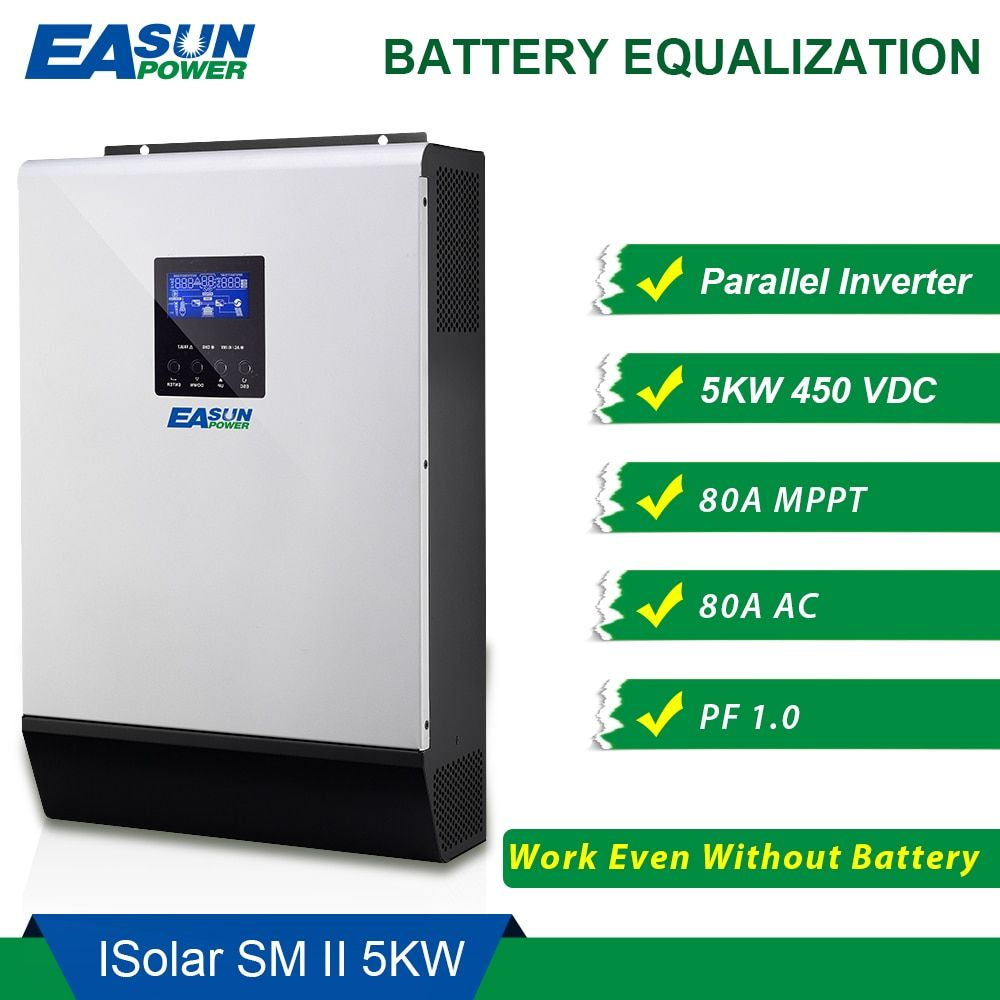 EASUN POWER 450Vdc 5000 watt Solar Inverter 80A MPPT Parallel Inverter 48 v 230 v Reine Sinus Welle Hybrid Inverter 80A Batterie Ladegerät