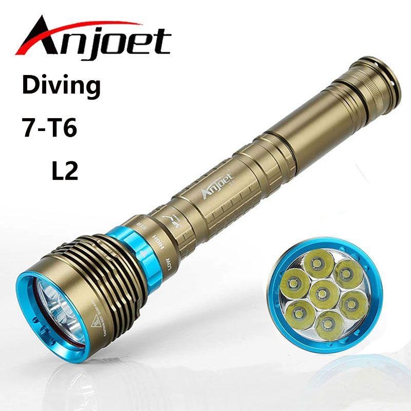 Anjoet Diving Flashlight 200 meters Underwater XM-7*L2 T6 LED Lanttern scuba Diver Torch Light lamp for 3x18650 or 26650