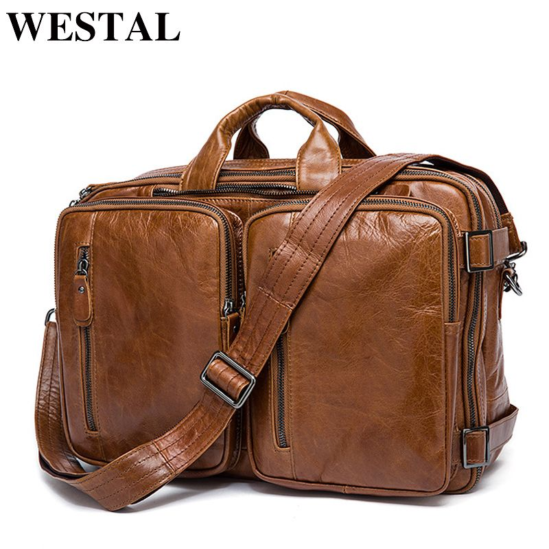 WESTAL Men's Briefcase Tote men messenger bag travel <font><b>laptop</b></font> bag for men document business Leather briefcase male Genuine leather