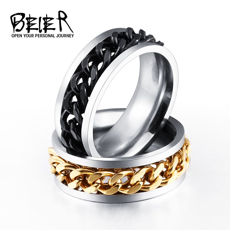 BEIER New Part Plated-Gold/Black Man's Spin Chain Ring For Stainless Steel Cool Man Woman Fashion Jewelry BR-R054