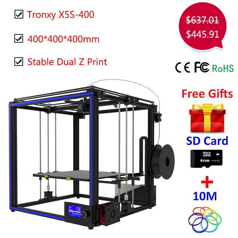 Upgrade Tronxy X5S 400*400*400mm 3D drucker Kit Dual-Z achsen Hohe Präzision Aluminium Stabile druck Tronxy Große 3D drucker DIY