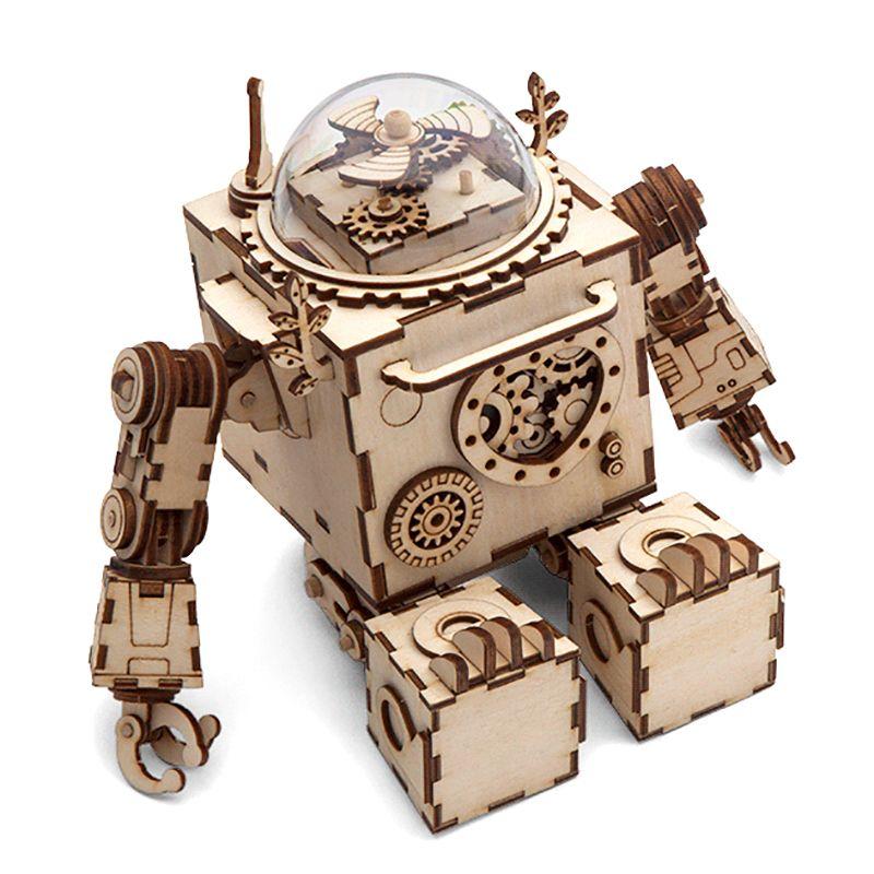 Robotime BRICOLAGE Créatif 3D Steampunk Robot En Bois Jeu de Puzzle Assemblée Boîte à Musique Jouet Cadeau pour les Enfants Adolescents Adulte AM601