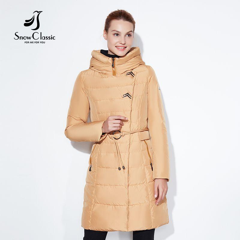 SnowClassic 2017 Fashionable women winter jacket thick Long Coat Jackets Hood Adjustable Waist solid slim Warm Cotton Padded