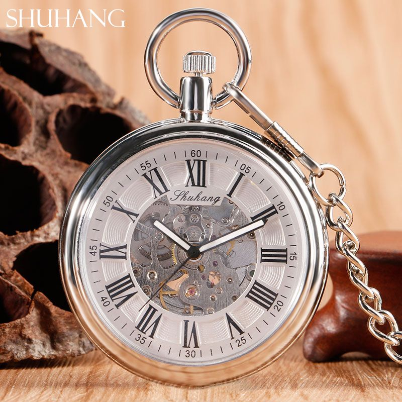 SHUHANG Vintage Retro Steel Silver Case White Dial Analog Mechanical Relogio Pendant FOB Chain Men Women Pocket Watch Hour Clock