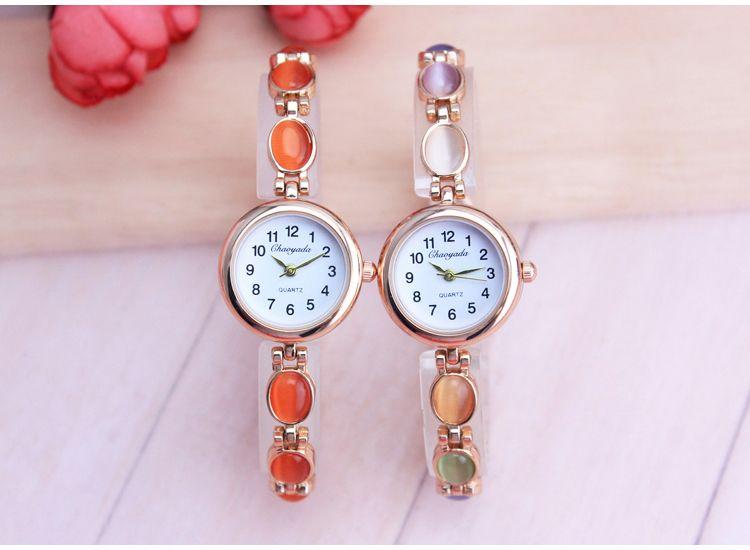 CYD Mujeres Relojes de Oro Rosa Pulsera de Cristal de Circón de Lujo de Negocios Reloj de Cuarzo Relojes de Pulsera Vestido de Las Señoras de Moda Reloj de Pulsera