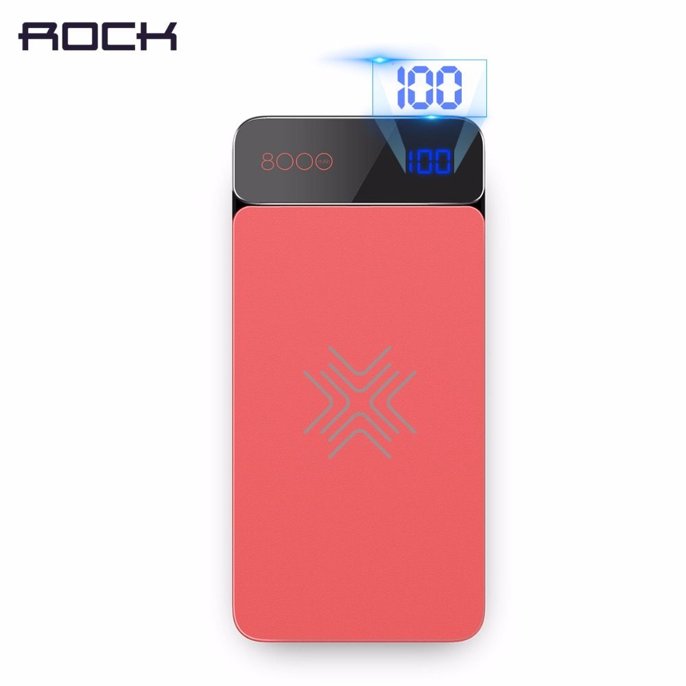 8000mAh LED LCD Wireless Charger Power Bank, ROCK 8000 mAh Digital Display Power Bank with Wireless Charger Function