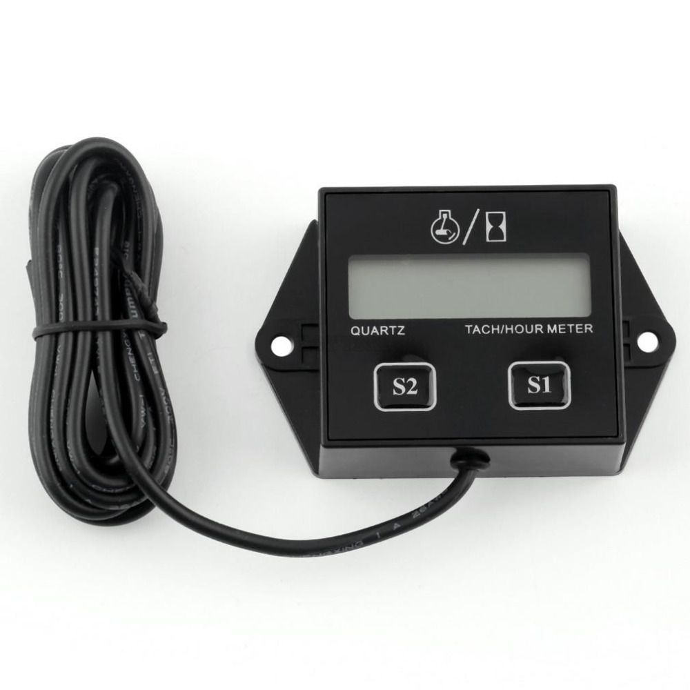 1pc High Quality Digital Engine Tach Hour Meter Tachometer Gauge Inductive For Motorcycle Motor Stroke Engine Spark Hot