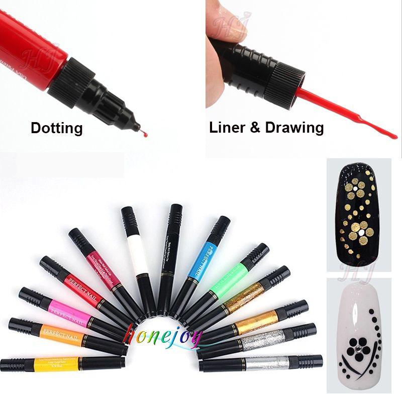 12 Farben Zwei-wege 3D Acryl Nagellack Stift Punktierung Pinsel Reine solide Glitter Gel Nail art Malerei Kit DIY Design Zeichnung Set