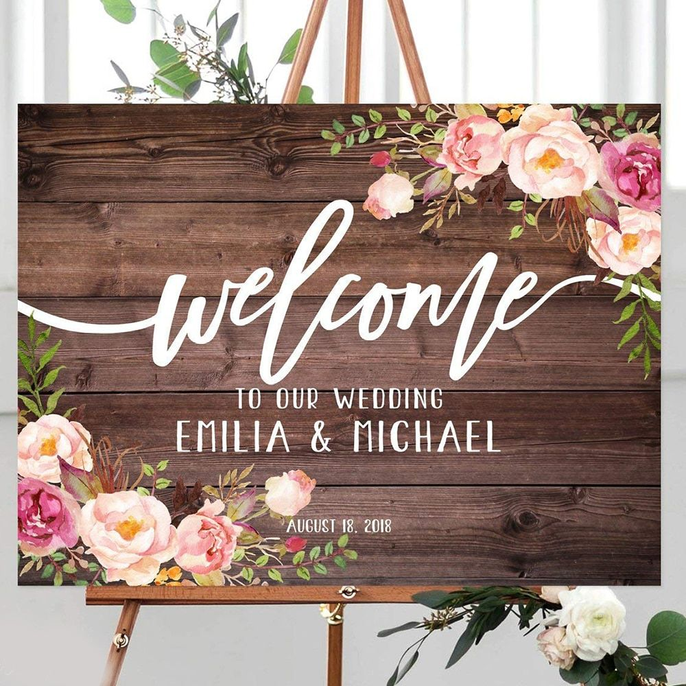 Signe de mariage de bienvenue rustique bienvenue à notre signe de mariage Horizontal paysage signe de mariage signe de bienvenue de mariage imprimable