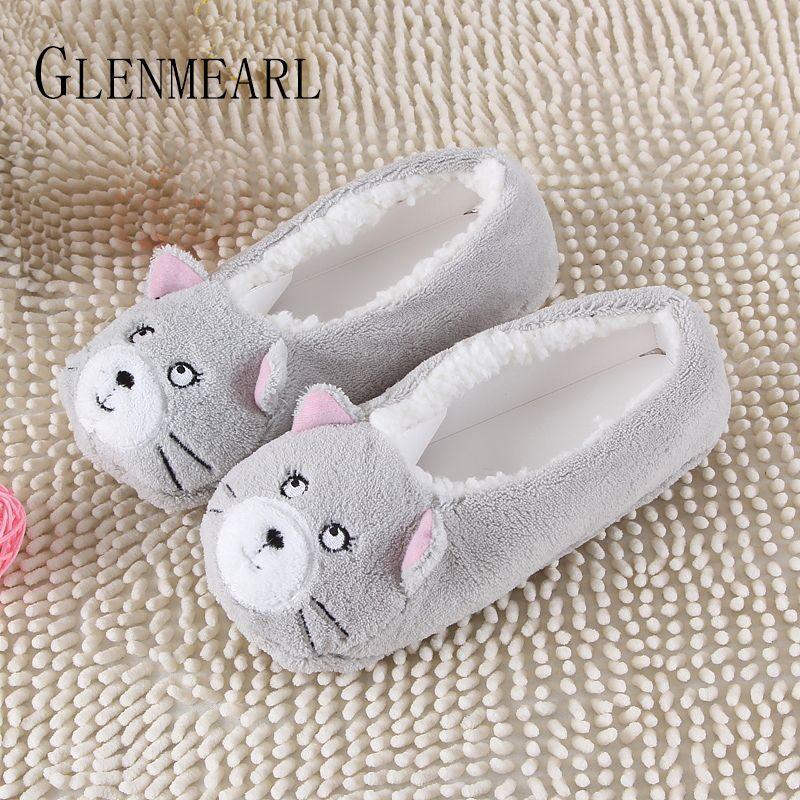 2019 nouveau chaud appartements doux semelle femmes intérieur plancher pantoufles/chaussures forme animale blanc gris vaches rose flanelle maison pantoufles 6 couleurs