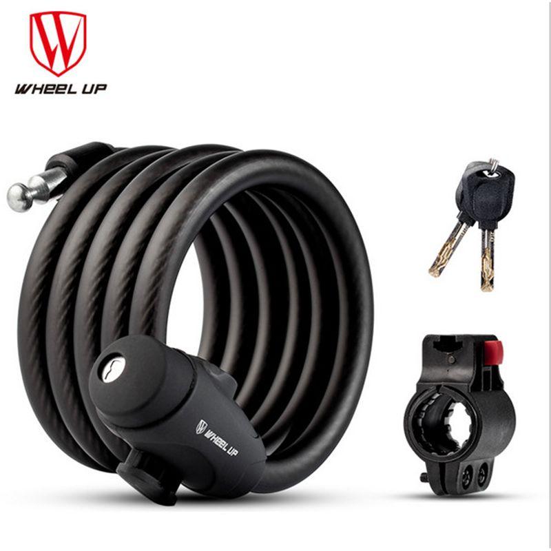 2018 <font><b>WHEEL</b></font> UP 1.2m 1.5m 1.8m Anti Theft Bike Lock Steel Wire Safe Bicycle Lock quality MTB Road Bicycle Lock