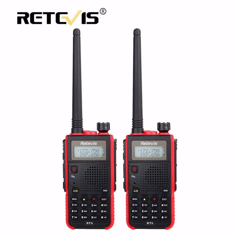 2 pcs Portable Walkie Talkie Pair Retevis RT5 5W 128CH VHF UHF Dual Band VOX FM Radio Station cb Radio Transceiver Walkie-Talkie