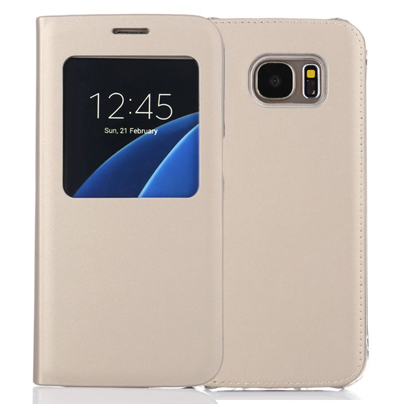 S-GUARD S7 case For Samsung Galaxy S7 S7edge IC Chip Case Smart View Flip Leather Case Auto Sleep Wake Function Cover