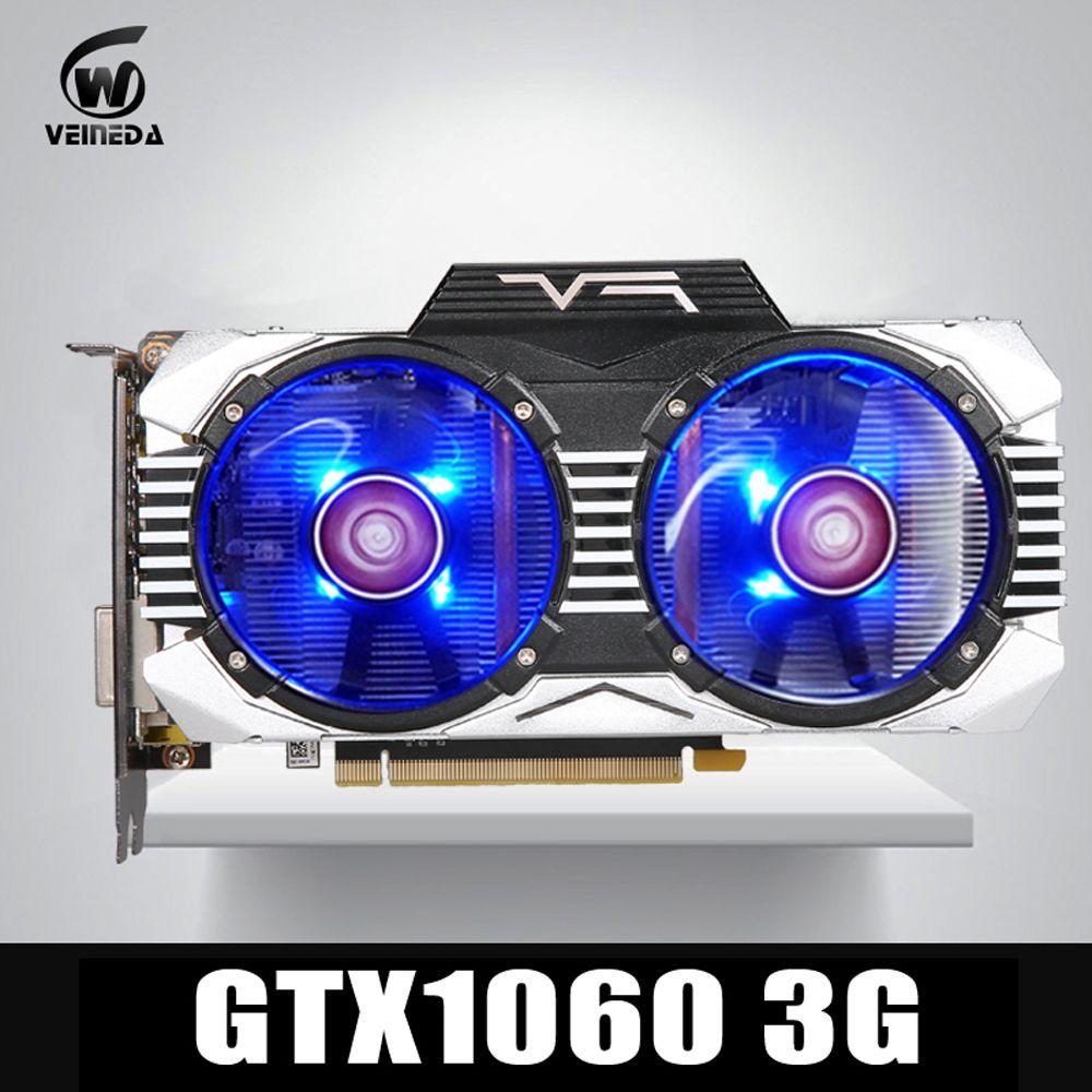 Carte graphique VEINEDA GTX 1060 3 GB 192Bit GDDR5 carte graphique GPU PCI-E 3.0 pour les jeux nVIDIA gebefore Series plus solides que GTX 1050Ti