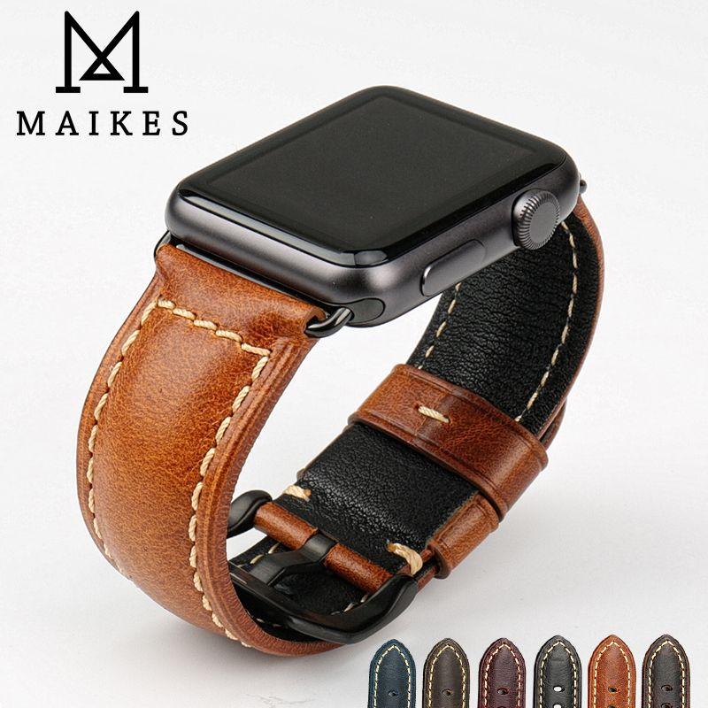 MAIKES véritable vache montre en cuir accessoires pour apple watch sangle 40mm 38mm brun apple watch bande 44mm 42mm iwatch 4 bracelet