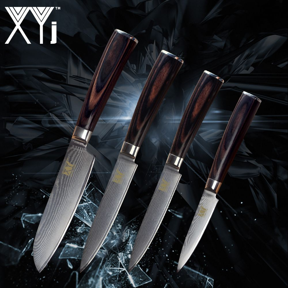 XYj Kitchen Knife Damascus Steel VG10 Core Sharp Blade Fruit Utility Santoku Knife New Arrival 2018 Cooking Accessories Tool