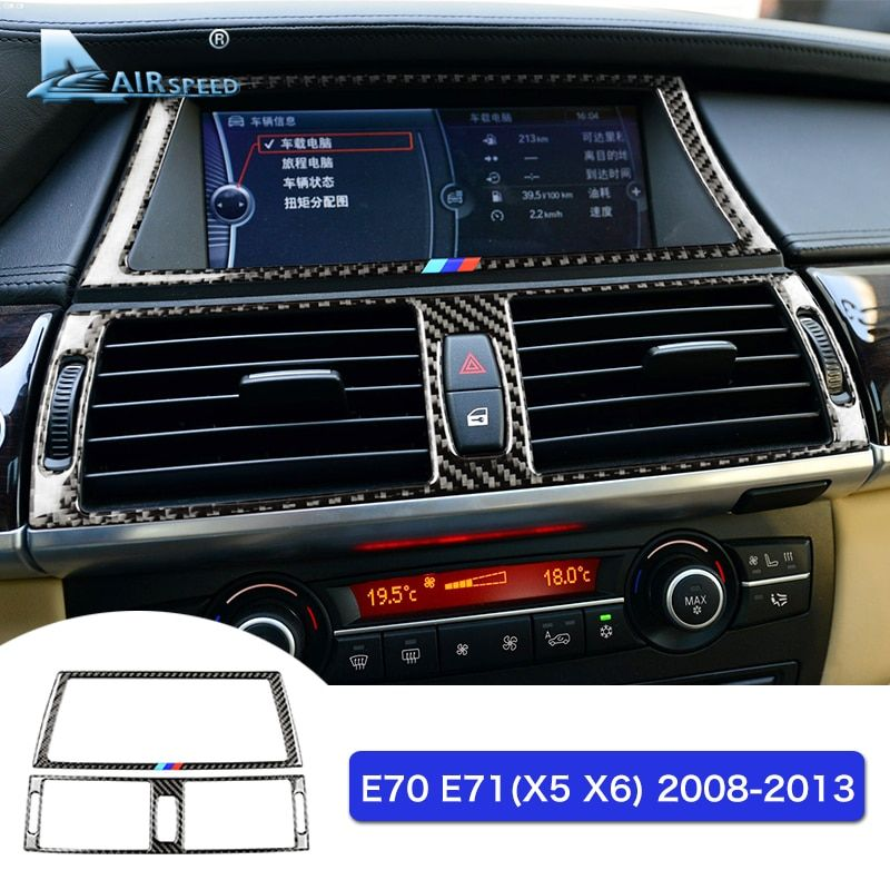 Airspeed Carbon Fiber Navigation Screen Frame Console Air Conditioner Outlet Trims for BMW E70 X5 E71 X6 Accessories Car Styling