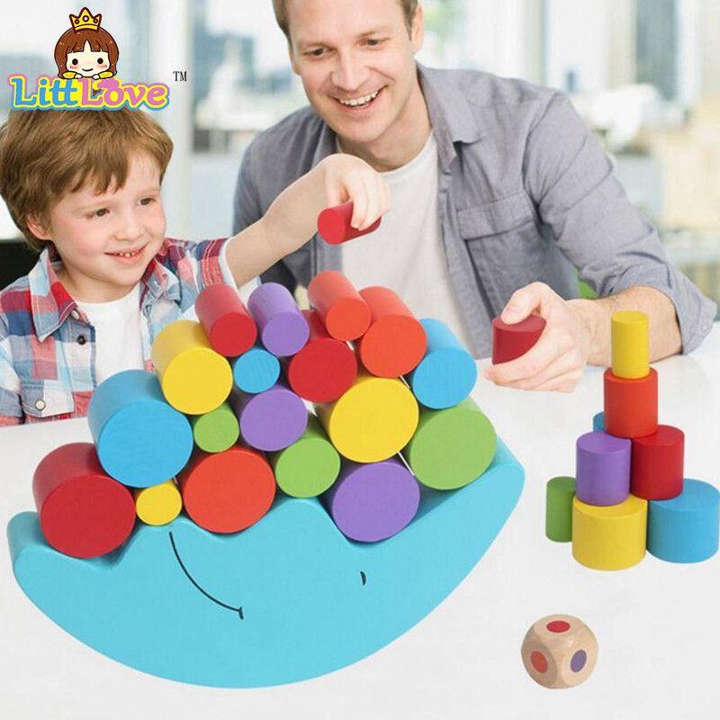 LittLove blocs d'équilibrage en bois de couleur vive pour enfants blocs d'apprentissage et de jouets éducatifs pour jeux de famille