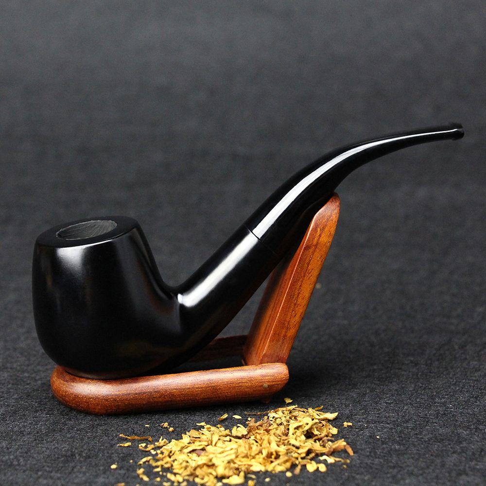 Nouveau Ébène Bois Tuyau 15 cm Plié Noir Pipe Fait Main Pipe de Tabac 9mm Filtre Pipe En Bois avec Des Outils fumée Accessoire SP-508