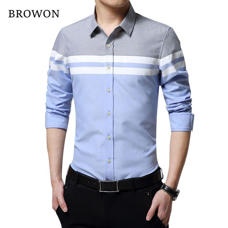 2019 mode hommes chemises marque vêtements Slim Fit Patchwork rayure vêtements hommes à manches longues chemise pour hommes Camiseta mâle