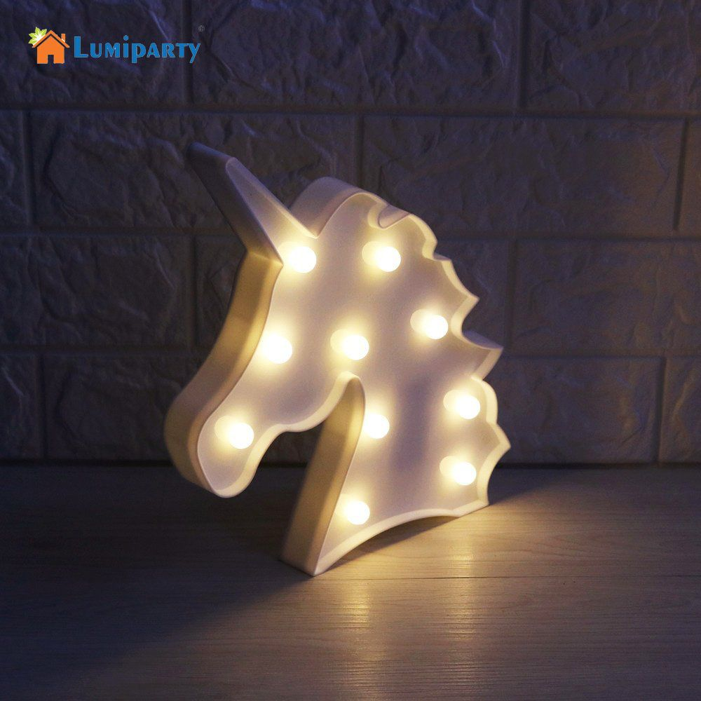Litake 3D LED Unicorn Marquee Light Warm White LED Marquee Sign LED Light up Unicorn Letters Lamp for Home Decoration