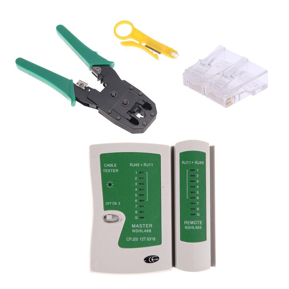 Cable Tester Kit Ethernet Cable Tester Kit Crimp Crimper Pliers +100pcs RJ45 CAT5 Cat5e Connector Modular Plug Network Tool Set