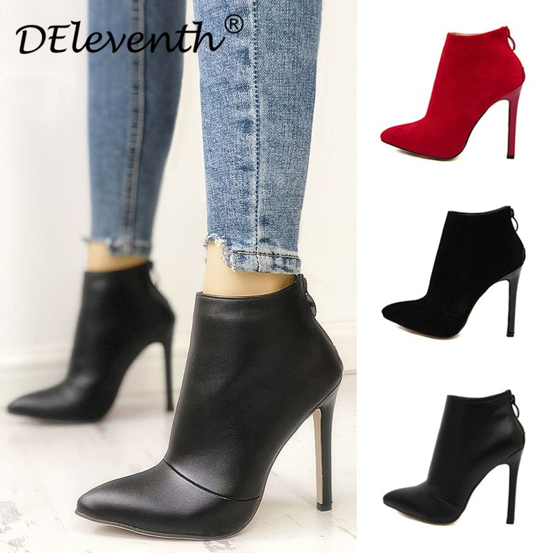 Belle Contracted Style Solid Color Black Women Red Wedding Shoes Back Zipper <font><b>Pointed</b></font> Toe High Heel Boots Shoes Woman Ankle Boots