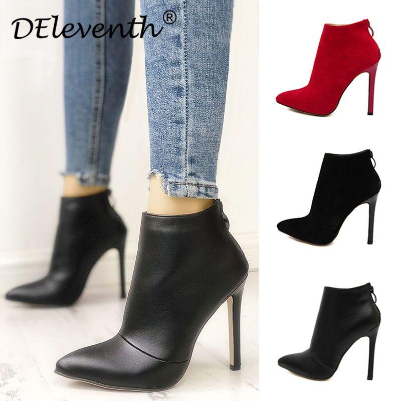 Belle Style contracté couleur unie noir femmes chaussures de mariage rouge fermeture à glissière arrière bout pointu bottes à talons hauts chaussures femme bottines