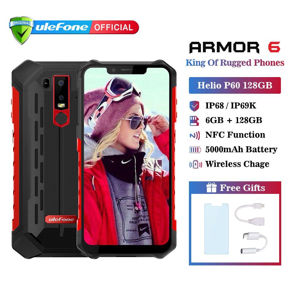 Ulefone Rüstung 6 IP68 Wasserdichte Handy Android 8.1 Helio P60 Octa Core 6 GB 128 GB Gesicht ID NFC IP69K robuste Smartphone