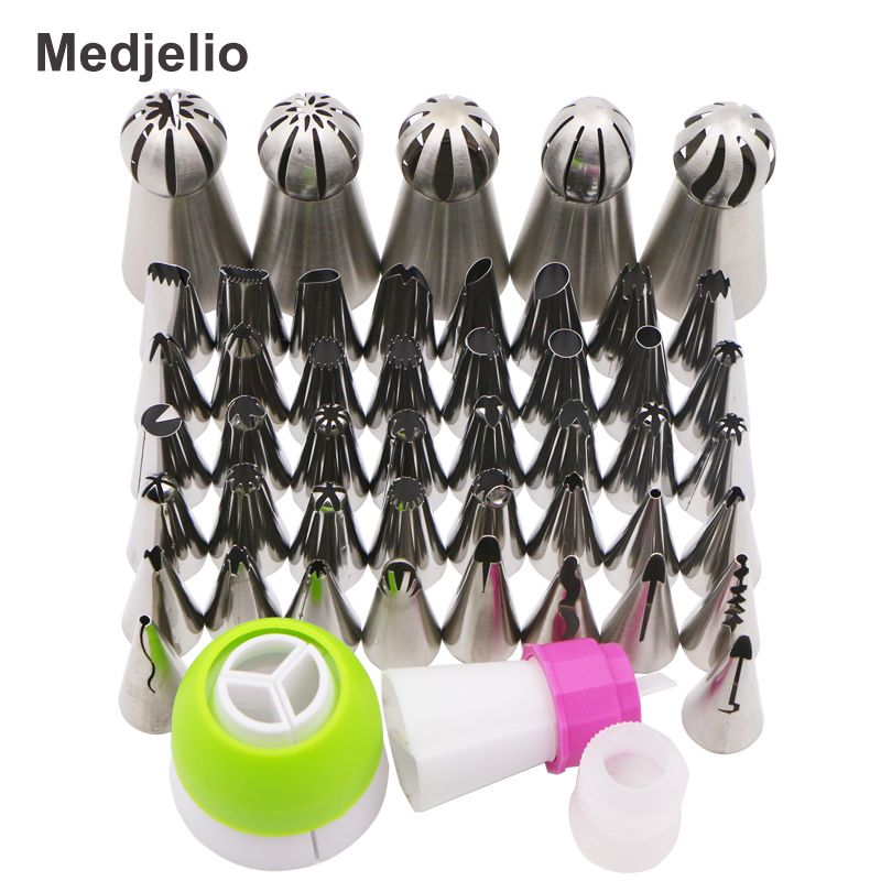Medjelio 47PCS Cupcakes Rose Flowers Petal Ruffle Decorating Tools Cakes Icing Pastry Piping Tips Russia Ball Globular Nozzle