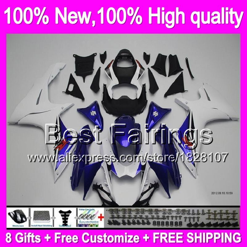 Fairing Blue white+ For SUZUKI GSXR600 2011 2012 2013 2014 K11 8B582 Blue black GSXR 600 750 11-14 11 12 13 14 GSX-R750 +Decal