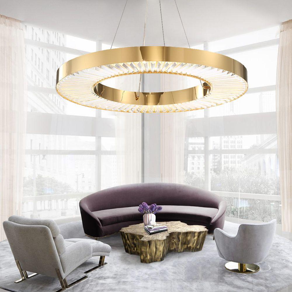 Youlaike Kreis LED Kronleuchter Beleuchtung Für Wohnzimmer Gold Moderne Kristall Lampe Schlafzimmer Poliert Stahl Ring Lüster De Cristal