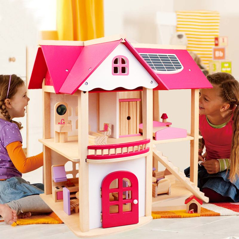 CUTEBEE Pretend Play Furniture Toys Wooden Dollhouse Furniture Miniature Toy Set Doll <font><b>House</b></font> Toys for Children Kids Toy