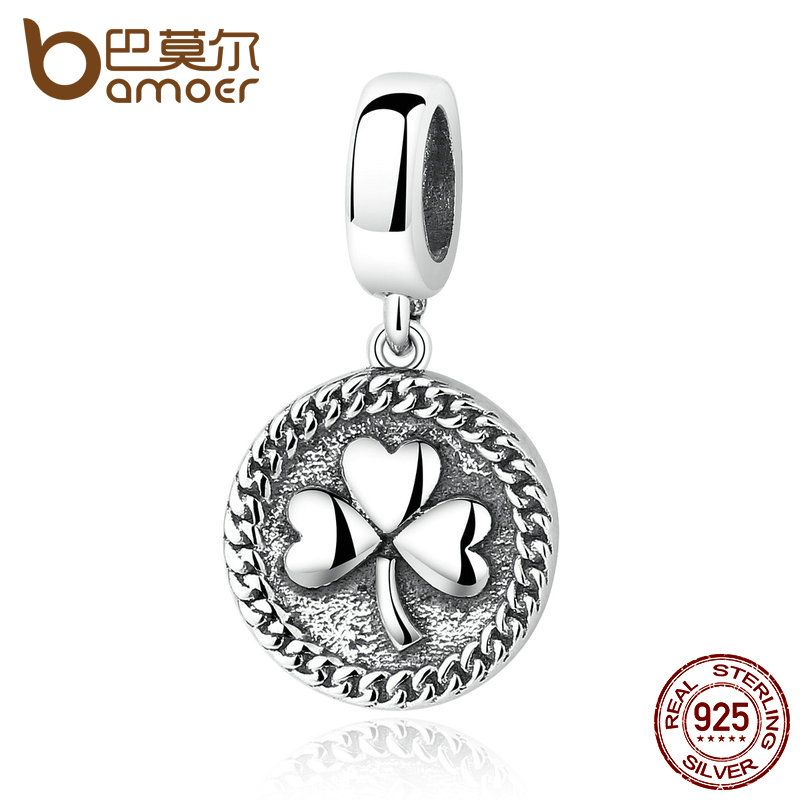 BAMOER Vintage 100% 925 Sterling Silver Clover Round Shaped Pendant fit DIY Beads & Jewelry Makings Accessories SCC039