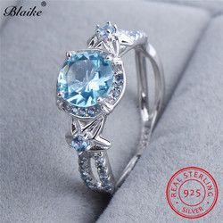 Blaike Round Aquamarine Star Flower Rings For Women Genuine S925 Sterling Silver Lake Blue Zircon Ring March Birthstone Jewelry