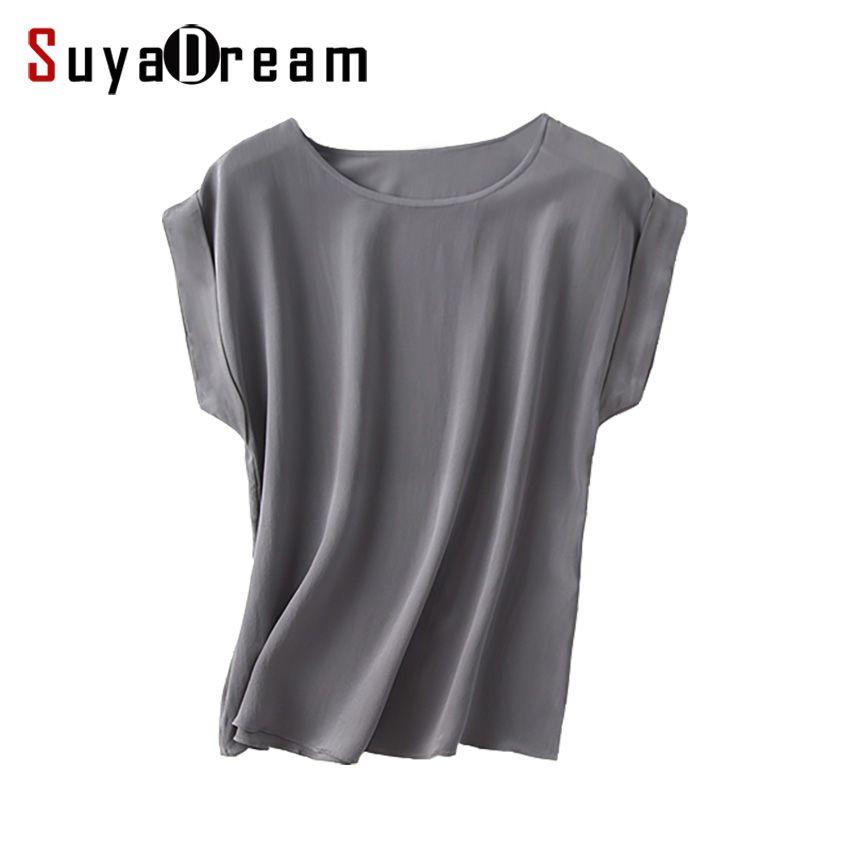 Femmes réel soie t-shirt à manches courtes chauve-souris solide en mousseline de soie lâche chemise 100% soie naturelle haut basique grande taille 2019 été fond